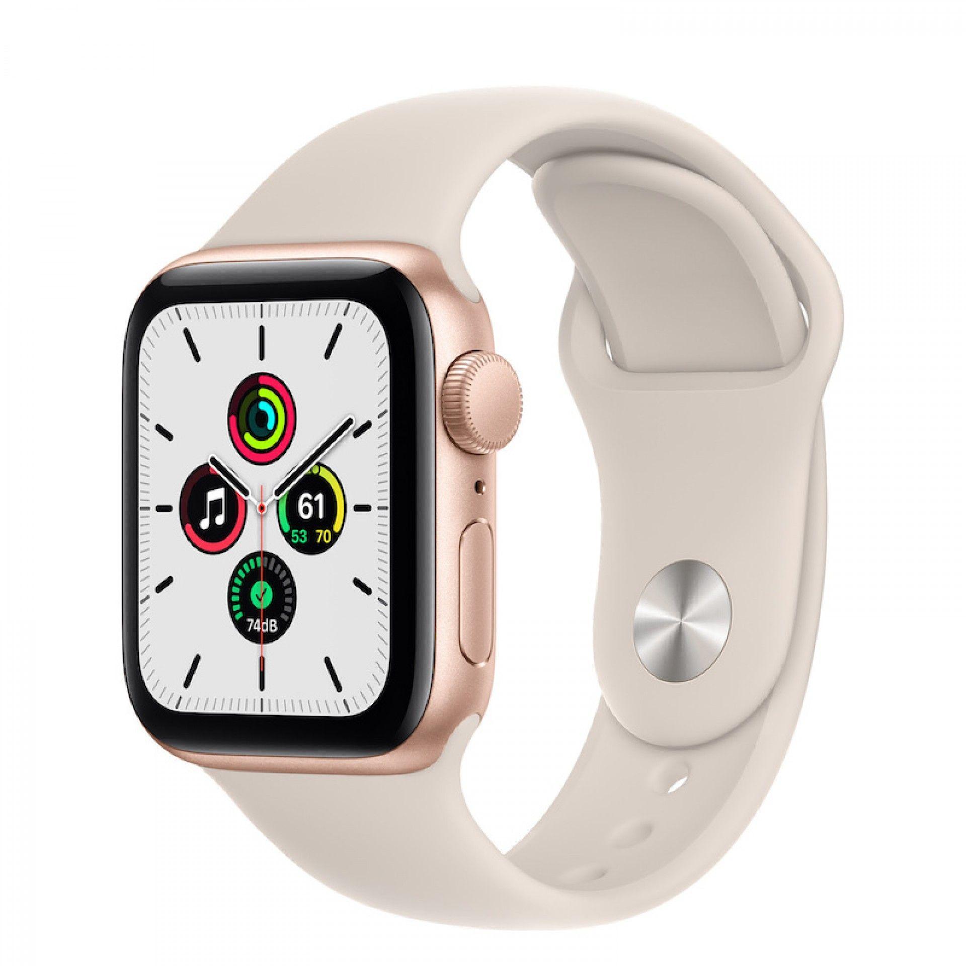 Apple Watch SE GPS 40 mm Dourado com bracelete Luz das estrelas