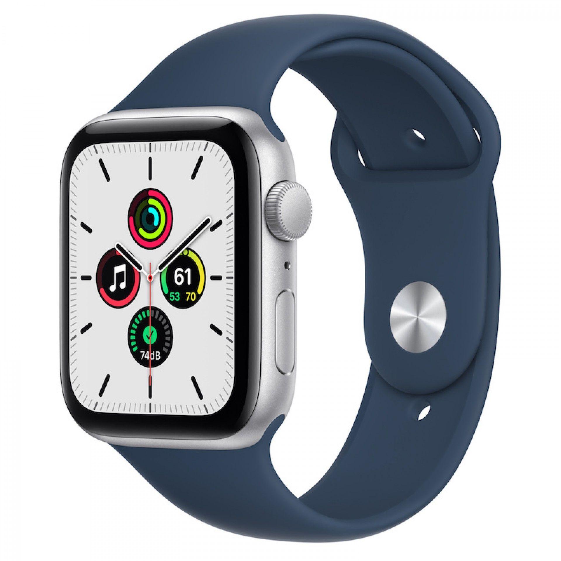 Apple Watch SE GPS 44 mm Prateado com bracelete desportiva azul abissal
