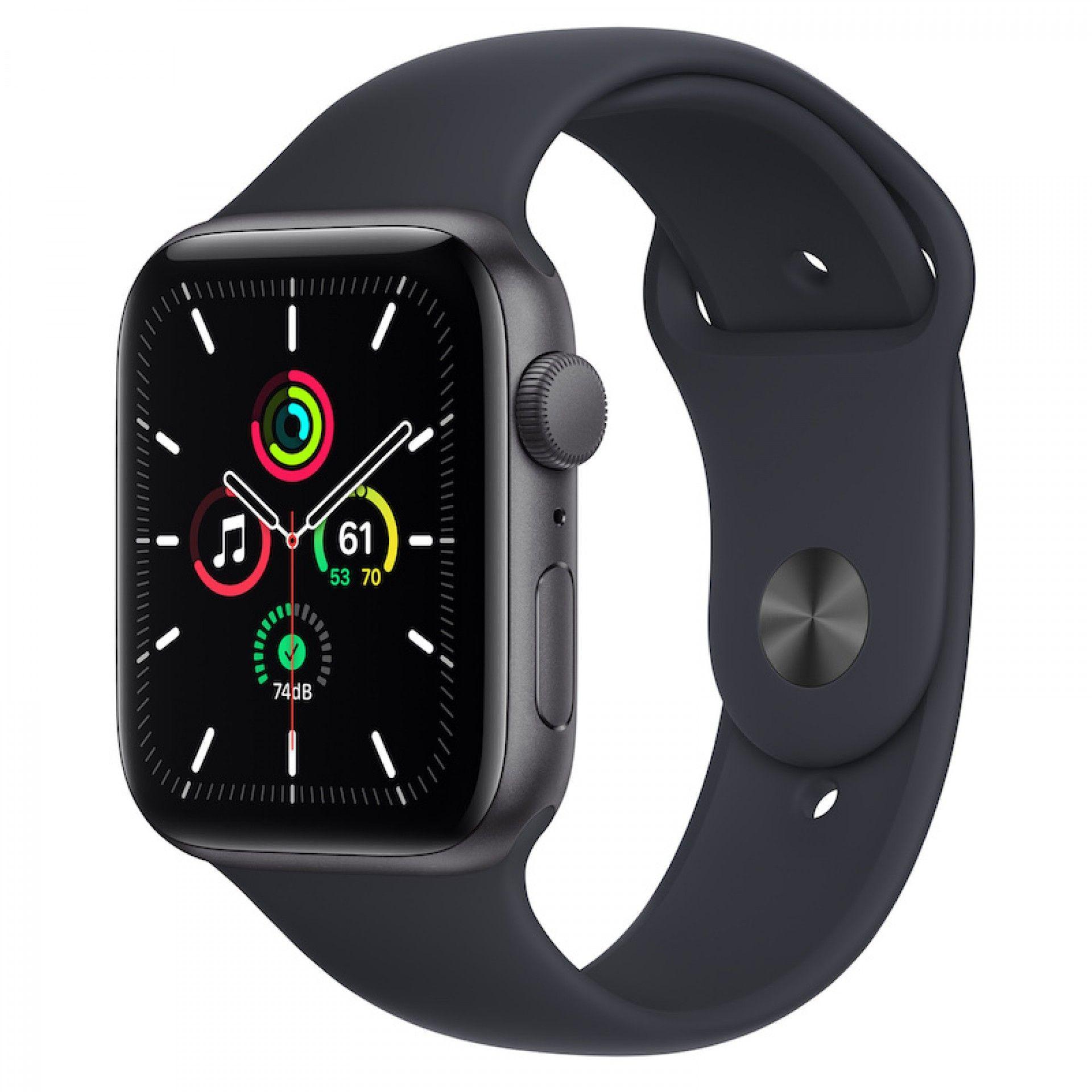 Apple Watch SE GPS 44 mm Cinzento sideral com bracelete desportiva Meia-noite