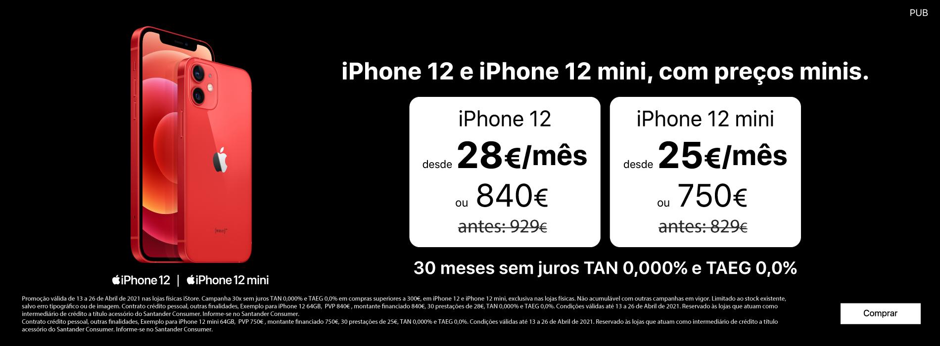 Homepage Slideshow - Campanha iPhone 12 e 12 mini