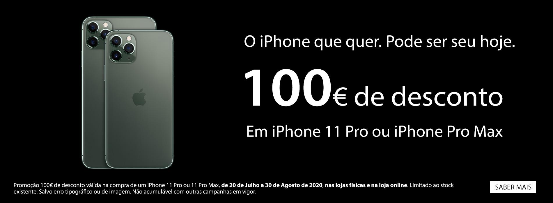 Homepage Slideshow - Campanha 100€ de desconto em iPhone 11 Pro