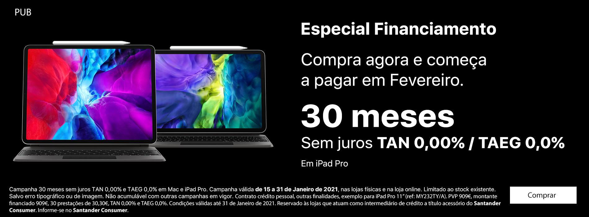 Homepage Slideshow - Financiamento iPad Pro 30 meses sem juros TAN/TAEG 0,0%