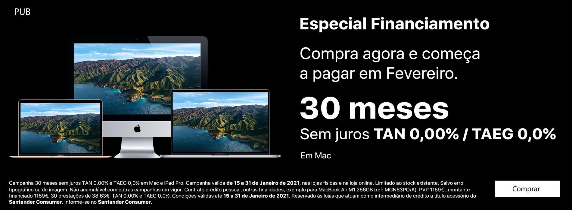 Homepage Slideshow - Financiamento Mac 30 meses sem juros TAN/TAEG 0,0%